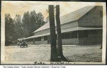 "Image of Building at Lake Wawasee, Kosciusko County, Indiana, ca. 1920 - Handwritten ""Lake Wawasee"" at the bottom of the photo. This may have been the dance pavillion."