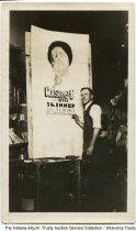 Image of Man painting a poster or sign, Marion, Indiana, ca. 1930