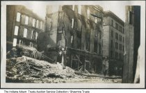 Image of First National Bank fire aftermath, Indiana, 1920 - The photo shows fire damage of a bank building.  From a photo album owned by the Reith family of Marion, Indiana.