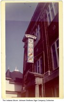 Image of Masonic Temple and sign, Indiana, ca. 1955 - There are five different logos seen on this electric sign on the Masonic Temple.