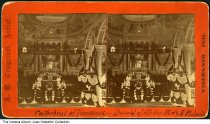 """Image of Burial at Cathedral of Vincennes, Indiana, ca. 1870s - Handwritten on this stereoview is """"Cathedral of Vincennes - Burial of Rt. Rev. M. de St. Palais."""" Printed on front is """"A. B. Craycraft, Artist- Vincennes, Ind."""". Signs inside the ornately decorated church read """"The Father of the Fatherless"""" and """"Our Father."""""""