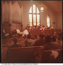 Image of Winamac First United Methodist Church interior, Winamac, Indiana, ca. 1975 - This photo was taken prior to a renovation done in 1978.