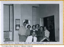 Image of E. A. Kinsey staff, Indianapolis, Indiana, 1954 - The workers are identified as (L to r): Don Hardin, Betty, ?, Florence Shutt, Alice Cowgill, ?, ?.