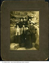 Image of Clara Belle (Lutes) Walls with friends, French Lick, Indiana, ca. 1890 - Clara Belle (Lutes) Walls is seen at the far left.