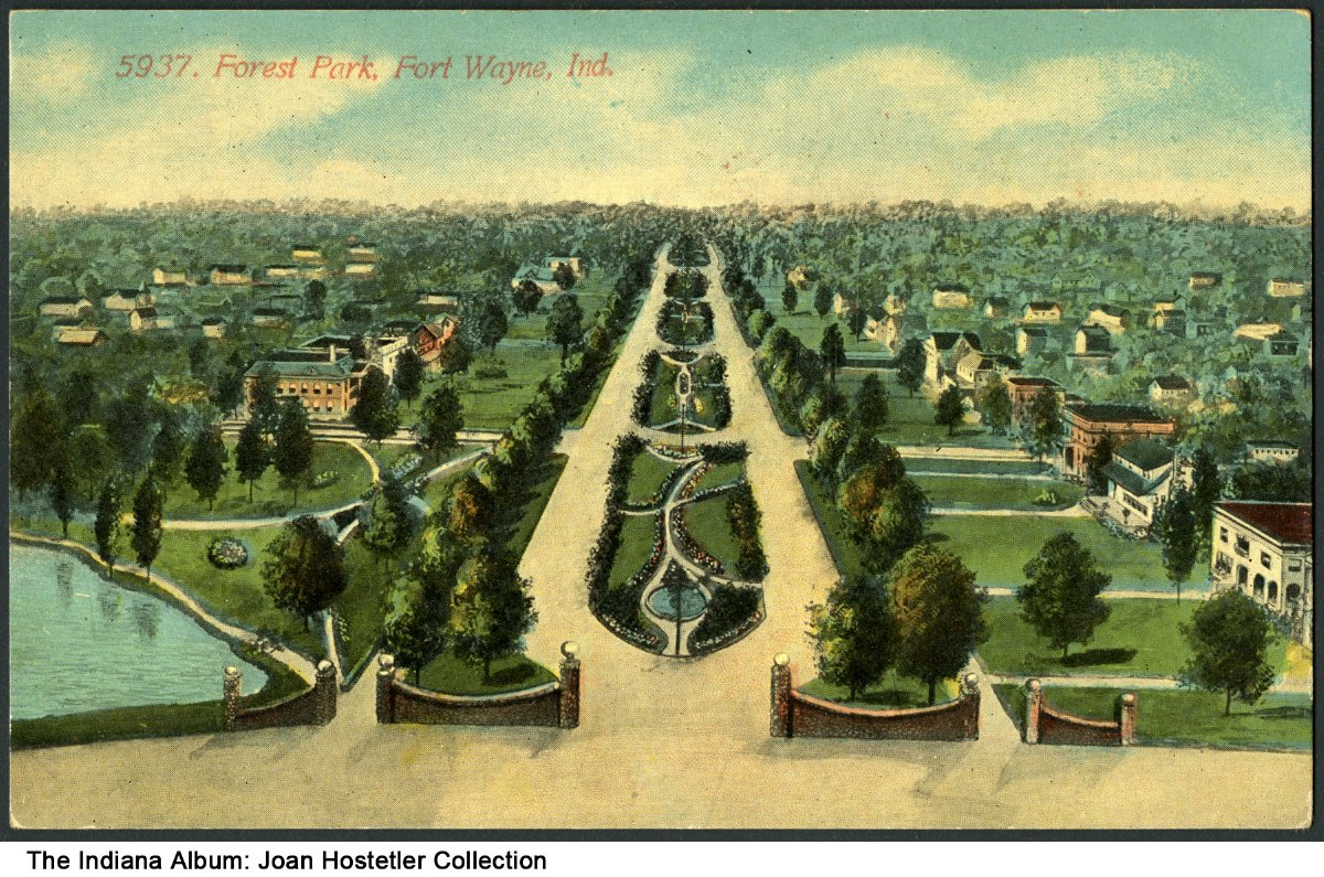 Birds'-eye view of Forest Park, Fort Wayne, Indiana, circa 1910