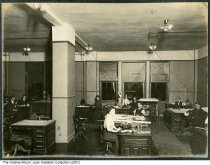 Image of Workers in a large open office, Central Union Telephone Company, Indianapolis, Indiana, 1907 - Another photo in this bound album shows a calendar dated December 1907.