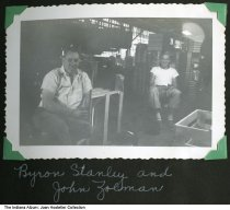 Image of Gatke Corporation workers inside the factory, Warsaw, Indiana, ca. 1947 - Identified are Byron Stanley and John Zolman.