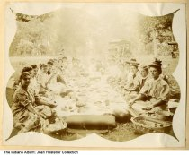 """Image of Group of women at a picnic, Fishers, Indiana, ca. 1909 - This image was from a photo album that reads """"Miss Frances Trittipo, Fisher's Switch, Indiana, '09."""" on the cover. Fisher's Switch was later known only as Fishers."""