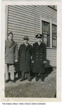 Image of Wurtz sons in uniform, Indianapolis, Indiana, ca. 1942 - L - R: 1st Lieutenant Raymond Wurtz, Leo Wurtz, and Lieutenant JG Robert W. Wurtz.