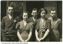 Image of Murphy siblings, Indianapolis, Indiana, ca. 1940 - L-R Tod (age 21), Marita (15), Bob (17), Alice (19), and Jack (23) Murphy.