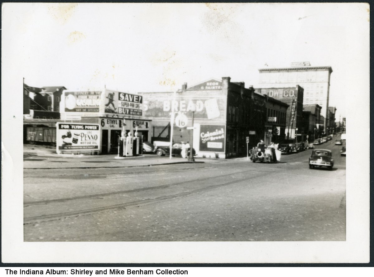 Gasoline station and other businesses, Lafayette, Indiana