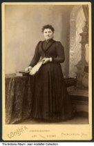 Image of Portrait of a woman by a photographer in Princeton, Indiana, ca. 1885 - Photographed by William R. Wright & Wife, Princeton, Indiana.