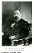 "Image of Portrait of Indiana Senator and Governor Oliver P. Morton, ca.1875 - A memorial photograph of Oliver P. Morton (1823-1877), ""The Great War Governor of Indiana."""
