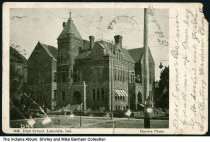 Image of High School building, Lafayette, Indiana, 1906 - Postmarked July 1, 1906. The postcard is copyrighted in 1905.