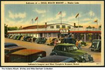 Image of Ideal Beach Resort ballroom on Shafer Lake, Monticello, Indiana, ca. 1940 - Crowds at the putting golf course and swimming area at Indiana Beach on Shafer Lake.