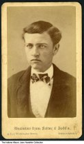 Image of Man photographed by Salter & Judd, Indianapolis, Indiana, ca. 1890 - The back of the card describes the mezzotint photograph process.