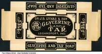 Image of Box for soap manufactured by Dr. J. B. Lynas & Son, Logansport, Indiana, ca. 1900 - This unassembled box held a bar of glycerine and tar soap manufactured by Dr. J. B. Lynas and Son, Logansport.
