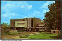 Image of Indiana University Quadrangle, Bloomington, Indiana, ca. 1965 - This postcard shows the central building at the Paul V. McNutt quadrangle.