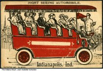 Image of Drawing of a sightseeing automobile, Indianapolis, Indiana, ca. 1907 - A tour guide is seen speaking through a megaphone to a group of sightseers on this open air car. The postcard was patented in 1907, and has a circle on the front that opens to reveal a blank space for writing a message.