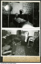 "Image of Tavern robbery crime scene photo, Indianapolis, Indiana, 1947 - Damage to the interior of a bar  after two men were apprehended during a burglary. The two photographs depict a hole in the wall and an opened safe on the floor. Also visible are a jukebox, table jukeboxes (or wallboxes) above the booths, a Havana pinball machine, and a pay telephone. The typed caption reads ""Burglars caught in the act: June 27, 1947 3:05 a.m. / Whilte Polic car was make a routine check of business places in their district they caught these two thugs burglarzing a tavern at 2009 E. Minnesota. Clarence Beggs and Wilbur Dougherty had both served time before for the same thing."" The William P. Eaton Tavern is listed at that address in Polk's 1947 Indianapolis City Directory."