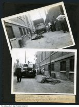 """Image of Bicycle accident fatality scene near Holy Rosary School, Indianapolis, Indiana, 1947 - Scene of an accident between a truck and a bicycle at an alley behind Holy Rosary School. The typed caption for the two police photographs reads """"Fatality Accident: Sept. 5, 1947 / Ronald Jones W/9 was run over and killed by a large truck failing to give him enough room to ride his bicycle through an alley in the rear of 159 E. Merrill St."""" According to the Indianapolis Star, the accident occurred a few feet from Holy Rosary School where the 10-year old Jones had just registered for fourth grade. The top view looks west at a banana and produced-filled truck, policemen, and the draped bicycle and victim. The bottom view looks east at a group of children and a Dodge ambulance or police car.  The 159 E. Merrill Street address is probably transposed since Holy Rosary Catholic Church School is located at the rear of 520 Stevens Street."""