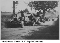 Image of Motor vehicle and train accident, Columbus, Indiana, ca. 1940 - The accident took place at Gladstone two blocks south of State Street. A car was hit by a train, and a family was killed.