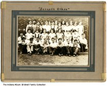 Image of 7th grade class, Fayetteville, Indiana, ca. 1934 - Arthur Bridwell (b. 1921) is 3rd from the right in the front row.