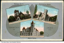 Image of Three churches of Peru, Indiana, ca. 1910 - This multi-view postcard shows the Episcopal, Presbyterian, and Baptist churches.