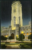 """Image of Scottish Rite Cathedral at night, Indianapolis, Indiana, ca. 1930 - The postcard is captioned """"N. Meridian Street and Circle, Indianapolis, Ind."""" Postmarked November 21, 1911."""