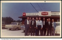 "Image of Men in front of Snyder's Restaurant, Indianapolis, Indiana, 1969 - The sign on the restaurant reads ""Snyder's DInner,"" and features two Coca Cola logos. Written on the back is ""Aug. 28, 1969"" and the names of the men: