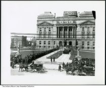 Image of Mourners at the State Capitol for Harrison's funeral, Indianapolis, Indiana, 1901 - Carriages with mourners for the late President Benjamin Harrison are seen arriving at south side of the Indiana State House.