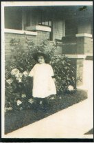 Image of Margaret Scott in the yard of 626 North DeQuincy Street, Indianapolis, Indiana, ca. 1915