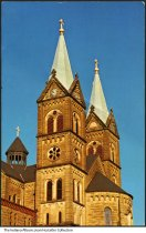 Image of Towers at St. Meinrad Abbey Church, St. Meinrad, Indiana, ca. 1970