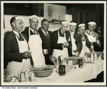 """Image of Men serving punch at an Indianapolis Home Show Pom Pom party, Indianapolis, Indiana, 1948 - Written on the back is """"Home Show Pom Pom Dinner 1948."""""""