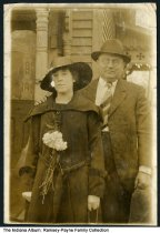 """Image of Inez and Clint Ramsey, Indianapolis, Indiana, 1917 - Written on the back of the card is """"Made on Easter Sunday 1917, it snowed."""""""