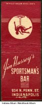 Image of Matchbook for Jim Hussey's Sportsman's Bar, Indianapolis, Indiana, ca. 1940 - The back of the cover shows a drawing of the Soldiers' and Sailors' Monument.