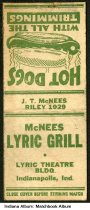 Image of Matchbook from McNees Lyric Grill, Indianapolis, Indiana, ca. 1945 - McNees Lyric Grill was in the Lyric Theatre Building at 121-135 North Illinois Street.