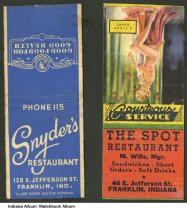 Matchbooks From 2 Restaurants In Franklin Indiana Circa 1945