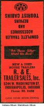 Image of Matchbook from R. & E. Trailer Sales, Indianapolis, Indiana, ca. 1940