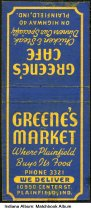 Image of Matchbook from Greene's Market, Plainfield, Indiana, ca. 1940 - The matchbook also advertises Greene's Cafe on Highway 40.