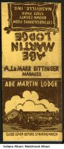 Image of Matchbook from Abe Martin Lodge, Nashville, Indiana, ca. 1945 - The matchbook features a line drawing of Abe Martin Lodge.