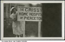 "Image of Nurse at Chrissy Home Hospital, Pierceton, Indiana, ca. 1925 - Written on the back is ""The Chrissy Home Hospital of Pierceton."""