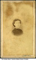 """Image of Photo of young Caroline (Maher) Bowen, Washington, Indiana, 1867 - Written on the back is """"Caroline Frances Maher - Bowen, Taken in May 1867."""" The photographer was J. T. Sparks of Washington, Ind."""