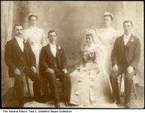 "Image of Frank Uebelhor wedding, Dubois County, Indiana, ca. 1900 - On the back is written ""Mr. & Mrs. John Uebelhor, Mr. & Mrs. Frank Uebelhor, Bride & Groom, Miss Thresia Gerber, Mr. Paiul Schreiner."""