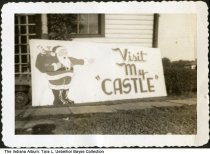 Image of Handpainted sign for Santa Claus Castle, Spencer County, Indiana, ca. 1945