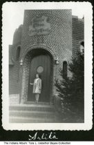Image of Arlita Uebelhor at the Candy Castle, Santa Claus, Indiana, 1952