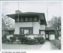 """Image of Frank Lloyd Wright home, South Bend, Indiana, ca. 1970 - This house was featured in the South Bend Tribune magazine """"Michiana"""" on August 1, 1971. The article was about Commercial Art students at Ivy Tech in South Bend who were interested in historic preservation of local homes."""