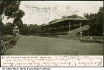 Image of Grandstand and racetrack at Tippecanoe County Fairgrounds, Lafayette, Indiana, ca. 1909 - Postmarked October 28, 1907.