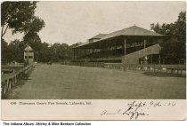 Image of Grandstand at Tippecanoe County Fairgrounds, Lafayette, Indiana, ca. 1906 - Postmarked September 9, 1906.