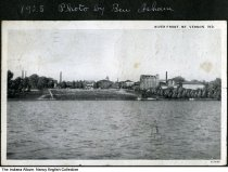 Image of River front as seen from the water, Mount Vernon, Indiana, ca. 1928 - The handwritten caption says that Ben Isham took this photo in 1928.